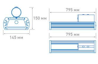Размеры светильника OS-STREET-200 (12d-L)